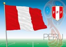 MOSKVA RYSSLAND, juni-juli 2018 - Ryssland logo för 2018 världscup och flaggan av Peru Arkivbilder