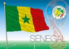 MOSKVA RYSSLAND, juni-juli 2018 - Ryssland logo för 2018 världscup och flaggan av Senegal Arkivfoto