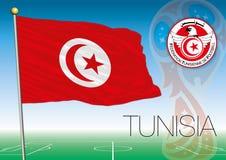 MOSKVA RYSSLAND, juni-juli 2018 - Ryssland logo för 2018 världscup och flaggan av Tunisien Arkivbild