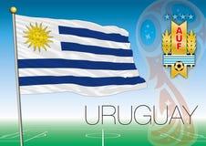 MOSKVA RYSSLAND, juni-juli 2018 - Ryssland logo för 2018 världscup och flaggan av Uruguay Arkivfoton