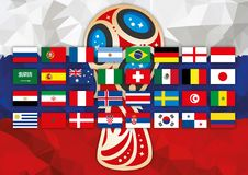 MOSKVA RYSSLAND, juni-juli 2018 - Ryssland 2018 världscup och rysk flagga vektor illustrationer
