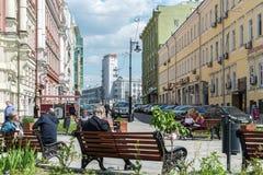 Moskva Ryssland - Juni 02 2016 kvadrera på den Myasnitskaya gatan - en gata i den historiska mitten av staden Royaltyfri Bild