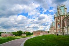 Moskva Ryssland - Juni 08, 2016 Storslagen slott i Tsaritsyno museumreserv Arkivfoto