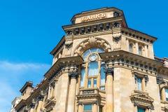 Moskva Ryssland - kan 14 2016 Banken av Moskva lokaliseras i historisk byggnad av det 19th århundradet Royaltyfria Bilder