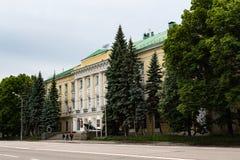Moskva Ryssland kan 25, 2019, en historisk monument av det 18th ?rhundradet byggnaden av den milit?ra avdelningen, den tidigare s arkivfoton