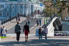 MOSKVA RYSSLAND - 21 09 2015 Luzhkov gångare Royaltyfri Bild