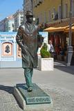 Moskva Ryssland - Maj 06 2017 Monumentet till kompositören Sergei Prokofiev i den Kamergersky gränden Arkivfoton