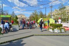 Moskva Ryssland - Maj 06 2017 Revolutionfyrkant under festivalMoskvavåren Royaltyfri Fotografi
