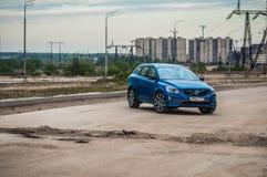 MOSKVA RYSSLAND - MAJ 20, 2017 VOLVO XC60 POLESTAR, framdel-sida sikt Prov av den nya Volvo XC60 polestaren Denna bil är AWD över Royaltyfria Foton