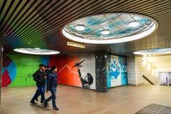 Moskva Ryssland - mars 10 2016 Grafitti av Chkalovs flyg från Moskva till Kanada via nordpolen i gångtunnelen Chkalovskaya Royaltyfri Fotografi