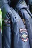 MOSKVA RYSSLAND - MARS 20, 2018: Hängare med formen av DPSEN GIBD för trafikpolisen i ett specialiserat lager-lager av polisen oc Fotografering för Bildbyråer