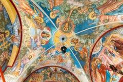 MOSKVA RYSSLAND - MARS 9, 2014: Inre av templet av förklaringen, som konstruerades i 1661 Arkivfoton