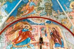 MOSKVA RYSSLAND - MARS 9, 2014: Inre av templet av förklaringen, som konstruerades i 1661 Arkivfoto
