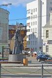 Moskva Ryssland - mars 14, 2016 monument som är hängiven till 7th uppdelningsBauman folks kår för volontär i världskrig II Arkivbild