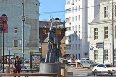 Moskva Ryssland - mars 14, 2016 monument som är hängiven till 7th uppdelningsBauman folks kår för volontär i världskrig II Royaltyfri Bild