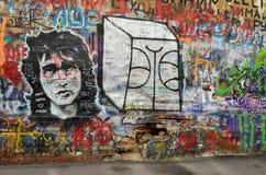 Moskva Ryssland, mars, 20, 2016, rysk plats: inget väggminne av Viktor Tsoi på Moskva för Arbat gatajn Royaltyfri Fotografi