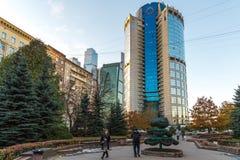 Moskva Ryssland - November 2 2017 Affärsmitt Tower-2000 på den Bagration fyrkanten Arkivbilder