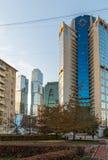 Moskva Ryssland - November 2 2017 Affärsmitt Tower-2000 på den Bagration fyrkanten Fotografering för Bildbyråer