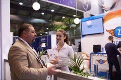 MOSKVA RYSSLAND - NOVEMBER 15-16, 2017 Blockchain och Bitcoin konferens Expo på den Sokolniki utställningmitten Royaltyfri Fotografi