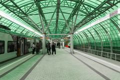 Moskva Ryssland-Oktober 01 2016 Affärsmitt - station av den centrala cirkeln för Moskva Fotografering för Bildbyråer
