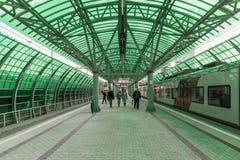 Moskva Ryssland-Oktober 01 2016 Affärsmitt - station av den centrala cirkeln för Moskva Arkivfoton