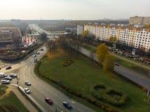Moskva Ryssland - Oktober 20 2018 Bästa sikt på central aveny i Zelenograd arkivfoton