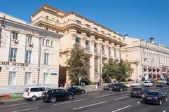 Moskva Ryssland - Oktober 02 2016 Hus ZHOLTOVSKOGO - historisk byggnad, nu Finansiell Korporation för gemensamt materiel system Arkivfoton