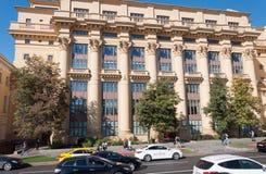 Moskva Ryssland - Oktober 02 2016 Hus ZHOLTOVSKOGO - historisk byggnad, nu Finansiell Korporation för gemensamt materiel system Arkivbild