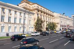Moskva Ryssland - Oktober 02 2016 Hus ZHOLTOVSKOGO - historisk byggnad, nu Finansiell Korporation för gemensamt materiel system p Fotografering för Bildbyråer