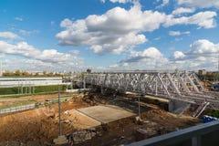 Moskva Ryssland-Oktober 01 2016 Järnväg av den centrala cirkeln för Moskva Royaltyfria Bilder