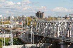 Moskva Ryssland-Oktober 01 2016 Järnväg av den centrala cirkeln för Moskva Royaltyfri Fotografi