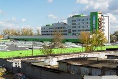 Moskva Ryssland-Oktober 01 2016 Konstruktion-reparationen hus suger electrodepot Likhobory Royaltyfri Fotografi