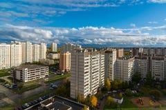Moskva Ryssland - Oktober 10 2017 microdistrict 16 av staden av Zelenograd Arkivfoto