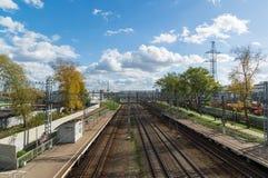 Moskva Ryssland-Oktober 01 2016 Nati station av den Octyabrskaya järnvägen Royaltyfria Bilder