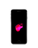 MOSKVA RYSSLAND - OKTOBER 18, 2016: Ny svart iPhone 7 är ett smart Arkivbild