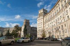 Moskva Ryssland-Oktober 01 2016 Stalinist arkitektur för berömda historiska hus på Leninsky Prospekt Royaltyfri Bild