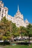 Moskva Ryssland - September 23 2015 HotellRadisson det kungliga hotellet, en av sju Stalin skyskrapor Royaltyfri Foto