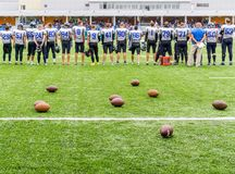 MOSKVA RYSSLAND - SEPTEMBER 06, 2015: Rugbystadion av sportskolan av den olympiska reserven? 111 Royaltyfria Foton
