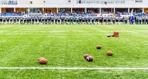 MOSKVA RYSSLAND - SEPTEMBER 06, 2015: Rugbystadion av sportskolan av den olympiska reserven? 111 Arkivbilder