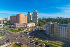 Moskva Ryssland - September 20 2017 sikt av det 18th området av Zelenograd det administrativa området Fotografering för Bildbyråer