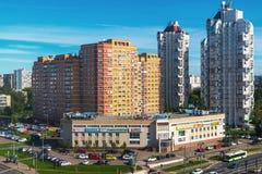 Moskva Ryssland - September 20 2017 sikt av det 18th området av Zelenograd det administrativa området Arkivbilder
