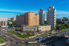 Moskva Ryssland - September 20 2017 sikt av det 18th området av Zelenograd det administrativa området Royaltyfri Bild