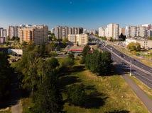 Moskva Ryssland - September 20 2018 sikt från ovannämnt till den Panfilovsky utsikten i Zelenograd Royaltyfri Foto