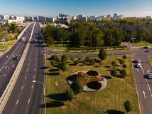 Moskva Ryssland - September 20 2018 sikt från ovannämnt till den Panfilovsky utsikten i Zelenograd Arkivbilder