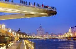 Moskva Ryssland, 12/16/2017, ` som svävar bro` i Moskva Royaltyfri Foto