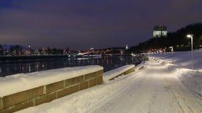 Moskva Rzeczny bulwar na zima wieczór moscow Rosji zbiory wideo
