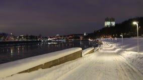 Moskva Rzeczny bulwar na zima wieczór moscow Rosji zbiory