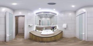 MOSKVA - sfärisk panorama 2018, 3D för SOMMAR med vinkeln för visning 360 av inre av ett modernt badrum med vasken och spegel läs Royaltyfri Bild