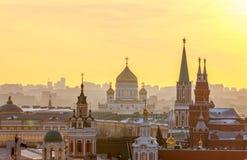 Moskva sikt av MoskvaKreml, domkyrka av Kristus frälsaren a royaltyfri fotografi