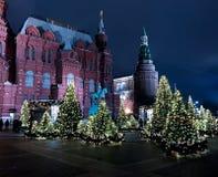 Moskva sikt för natt Russia-01/01/2018 royaltyfri foto